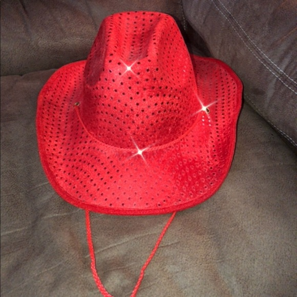 e4625ba5af486 Accessories - 🌺Vintage Red Cowgirl Cowboy Sparkle Sequined Hat